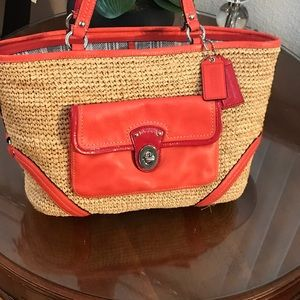 Coach Pocket 22904 Tangerine Straw Leather Tote